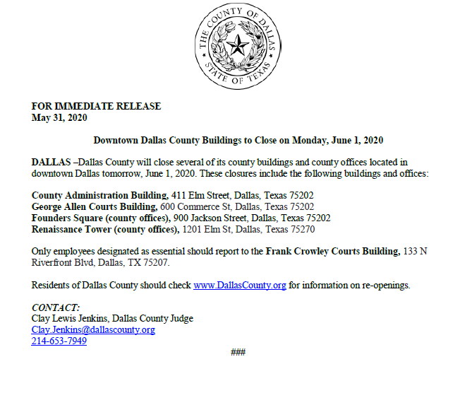 County Buildings Closed June 1, 2020