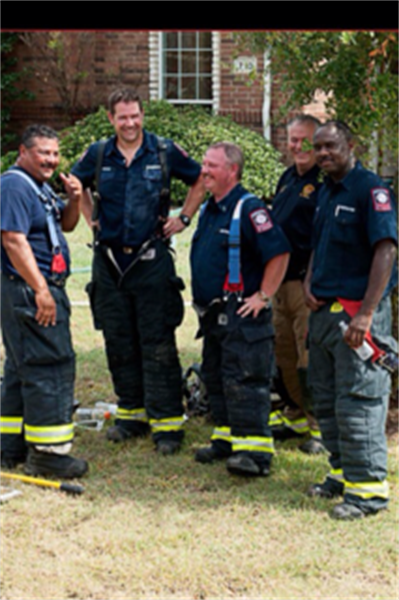 Five Firefighters in Gear